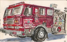 painting of a firetruck