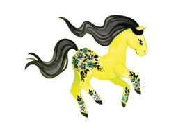 Neon Green Pony with Flowers - she was inspired by a swimsuit.