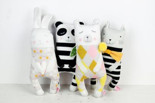 animal soft toys bunny panda polarbear cat by PINKNOUNOU