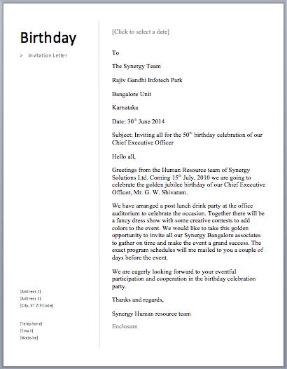 Business invitation letter to participate in an exhibition free birthday invitation letter stopboris Gallery