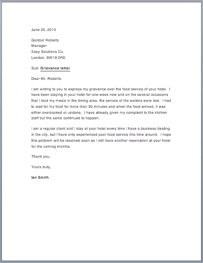 Sample Grievance Letter – Free Sample Letters