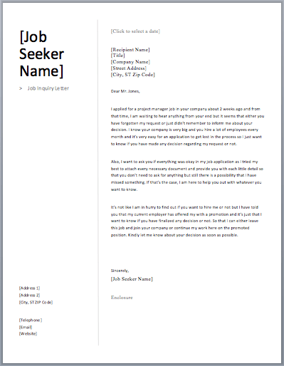 Job Inquiry Letter Free Sample Letters