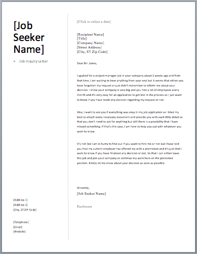 job inquiry letter