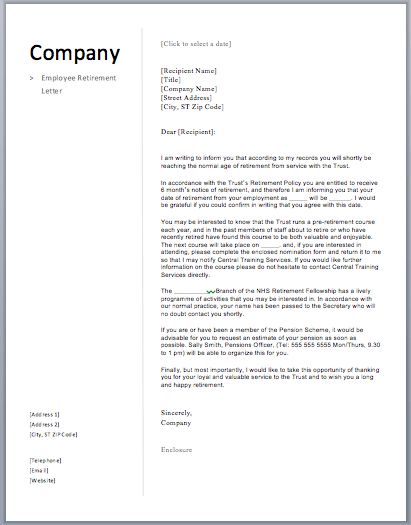 retirement letter to company