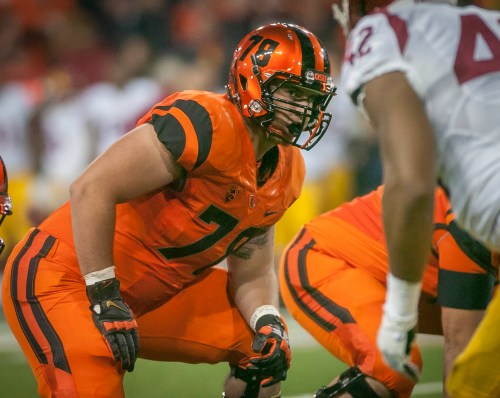 Oregon State freshman tackle Sean Harlow started eight games for the Beavers in 2013. Photo by Beth Buglione