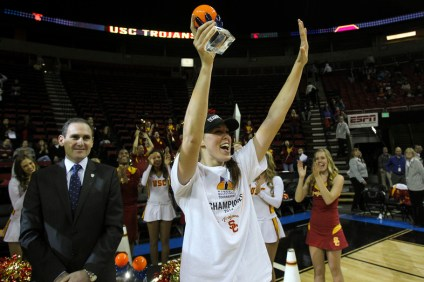 USC's Cassie Harberts was named to the Pac-12 All-Tournament and All-Conference teams in 2014. Photo courtesy of Pac-12 Conference