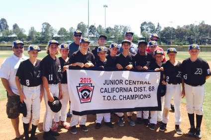 The San Clemente Little League Army Black Knights won the Junior Central District 68 T.O.C on June 13. Photo: Courtesy