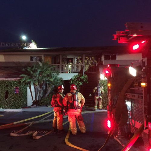 OCFA firefighters respond to a two-story structure fire early Tuesday morning on the 3500 block of Camino Mira Costa. Photo: Courtesy of OCFA