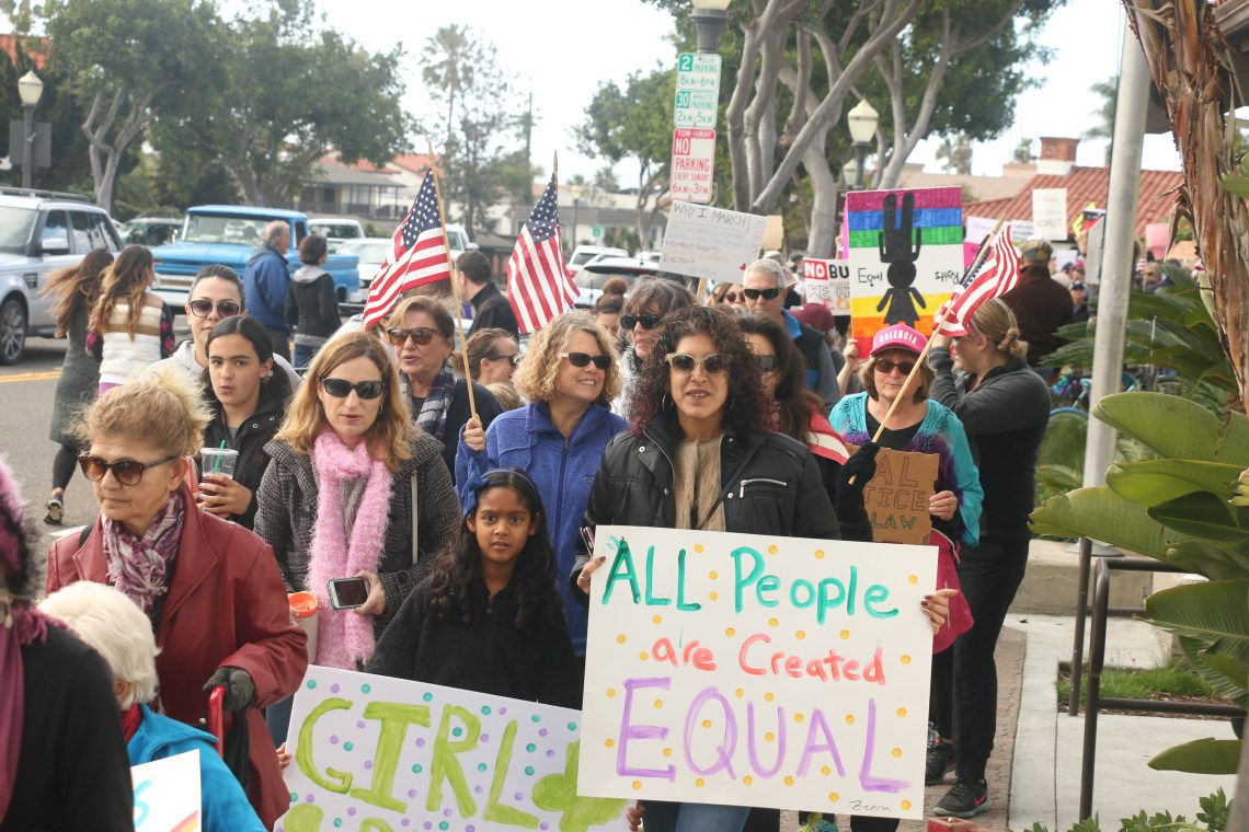 """Hundreds of people participated in the Women's March on Washington """"sister march"""" on Saturday, Jan. 21, in San Clemente. Photo: Eric Heinz"""