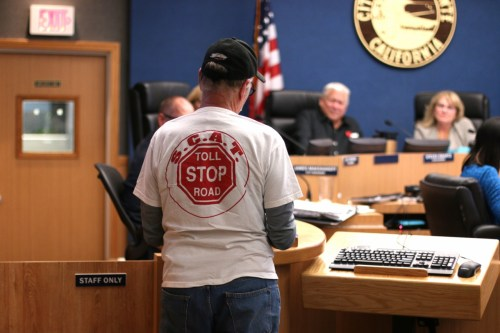 Don Kunze speaks to City Council during the Tuesday, May 16 meeting in opposition of the toll road proposals. Photo: Eric Heinz