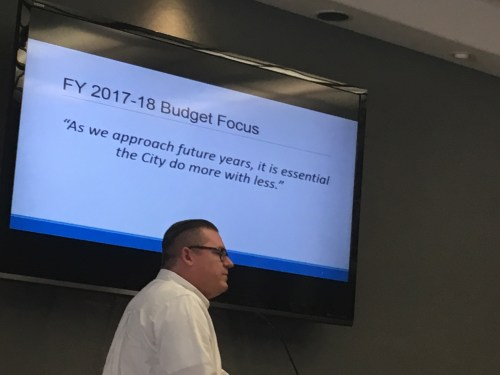 San Clemente assistant city manager Erik Sund opened the discussion on the 2017-18 city budget on Monday, May 22, at San Clemente City Hall. Sund said the city will have to tighten its expenses in the next few years on certain projects. Photo: Eric Heinz