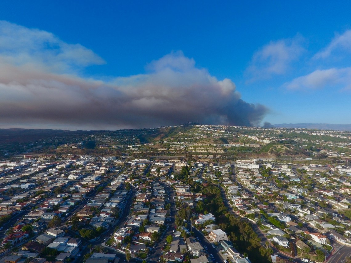 The billowing smoke could be seen for miles from Camp Pendleton on Wednesday, June 28. Photo: Courtesy of Frank Brennan.
