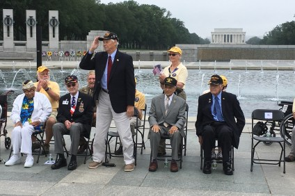 San Clemente resident and WWII veteran Leslie B. Jones, center and saluting, was honored this year at the Memorial Day Observance on May 29 in Washington, D.C. Photo: Courtesy Photo: Courtesy