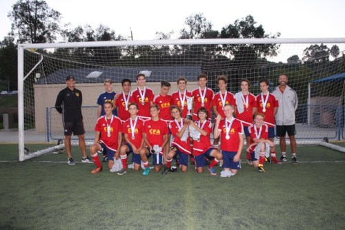 The California Football Academy's U16 boys team won the West Coast Classic tournament. Photo: Courtesy