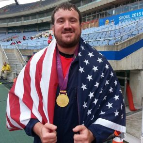 Kevin Brousard won the gold medal and set an American record in the discus at the IBSA World Championships in South Korea in 2015. Photo: Courtesy