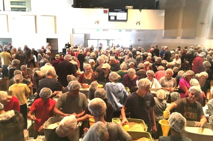 More than 2,000 volunteers participated in the Nov. 4 charity event at Heritage Christian Fellowship to send packaged meals to refugees in northern Uganda. Photo: Courtesy of Heritage Christian Fellowship