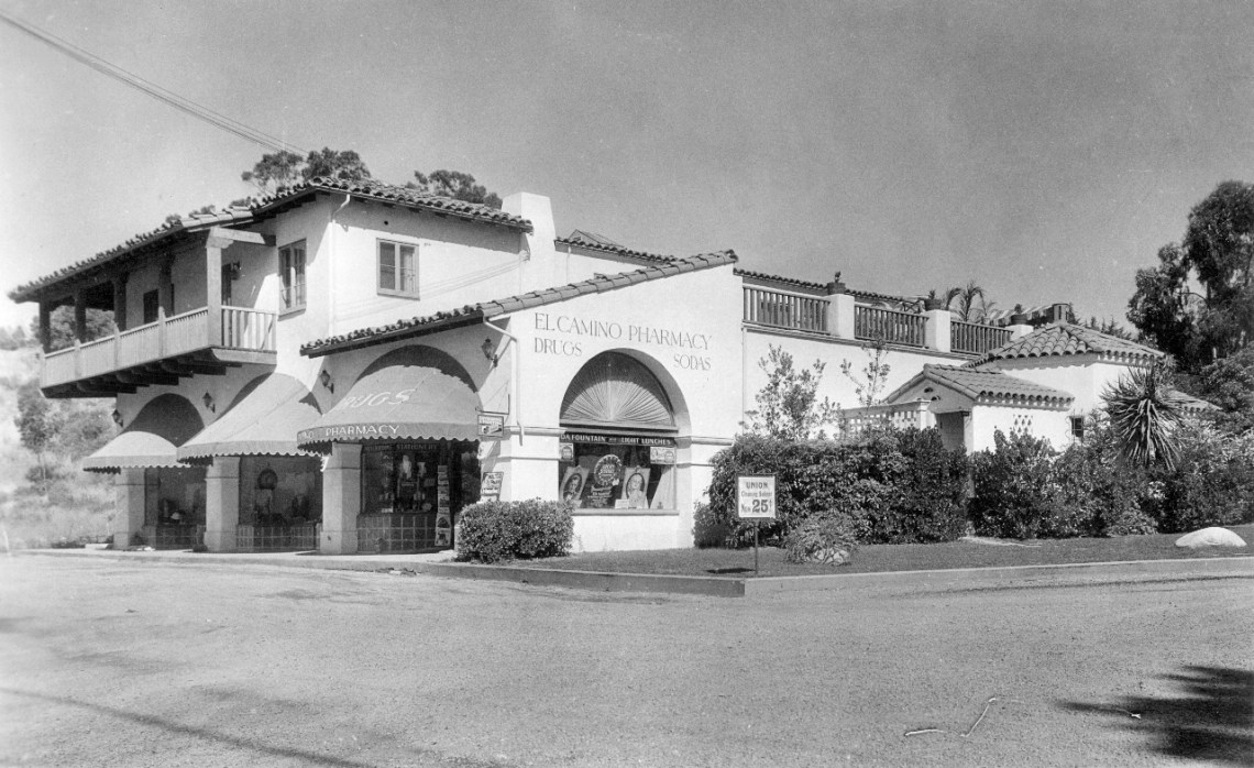 El Camino Pharmacy is pictured here in the 1930s in San Clemente. The old architecture style of the building, Spanish Colonial Revival, is maintained throughout the city today.  Photo: Courtesy of Orange County Archives