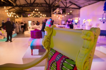 A chair designed by Suzanne Currie sits on display at a launch party in Los Angeles on Jan. 11. Photo: Courtesy of Ryan Tiehen