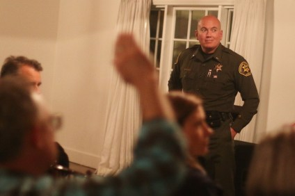 Lt. Mike Peters, chief of San Clemente Police Services, fields questions during a community forum on homeless populations on Jan. 24 at Casino San Clemente. Photo: Eric Heinz