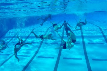 Teams from San Clemente and Oceanside faceoff in the first Aquabowl of the Underwater Torpedo League on Jan. 27 at the San Clemente Aquatics Center.