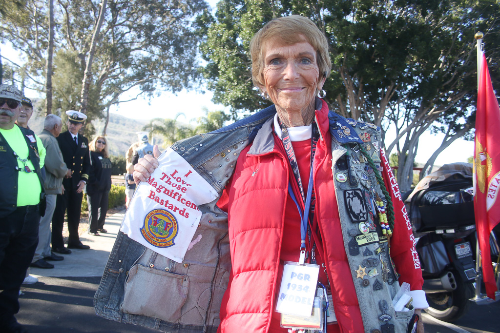"""Peggy Kane of the Patriot Guard Riders displays her support for the Marines at the ceremony welcoming the Vietnam War memorial on March 29 at Camp Pendleton. The """"Magnificent Bastards"""" is the nickname of the 2nd Battalion, 4th Marines."""