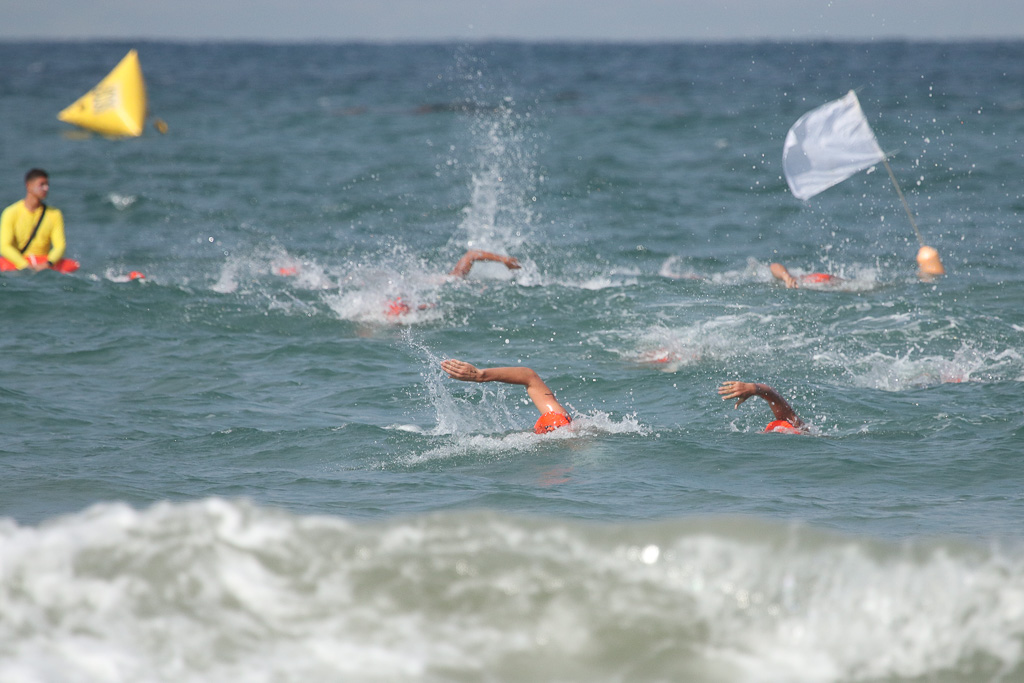 The first swim race of the day was highly competitive on July 21 at the San Clemente Ocean Festival. Photo: Eric Heinz