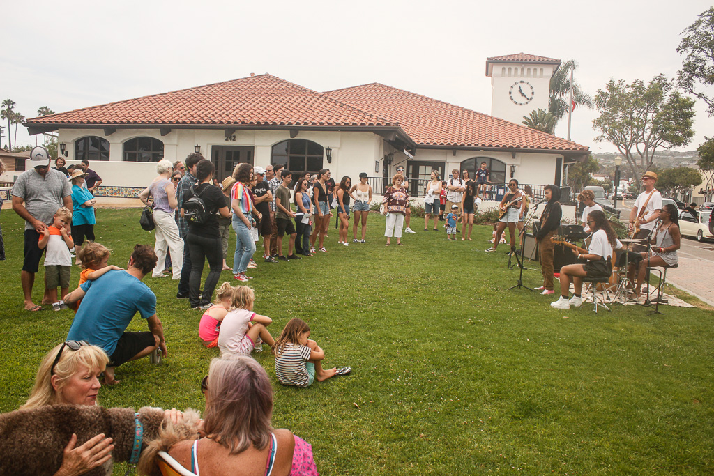 More than 50 people were gathered at the San Clemente Library on July 9 for the Orange County Students for City Council rally. Photo: Eric Heinz