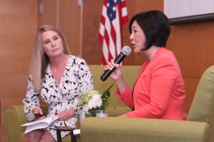 Orange County Supervisor Lisa Bartlett, right, speaks to an audience on June 27 during the State of the County, hosted by the South Orange County Economic Coalition. Photo: Eric Heinz