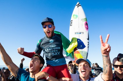 Filipe Toledo (BRA) is chaired up the beach as the WINNER of the 2018 Corona Open J-Bay after winning the final at Supertubes, Jeffreys Bay, South Africa.