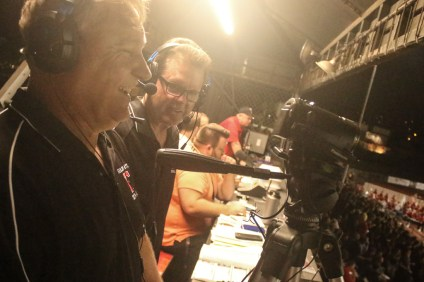 Frank Kling and Richard Corder are the Friday Night Live broadcast team. Photo: Eric Heinz