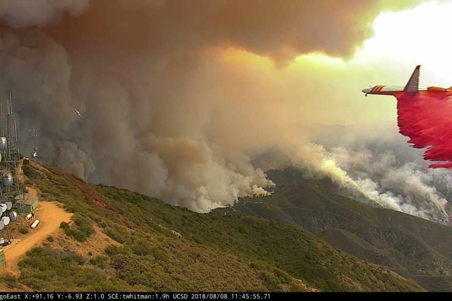 An ALERTWildfire camera captures a Calfire jet droping fire-suppressing material on the Holy Fire in August, which burned more than 22,000 acres. San Clemente is expected to have a camera installed on its ridgeline by the end of the year. Photo: Courtesy of ALERTWildfire.