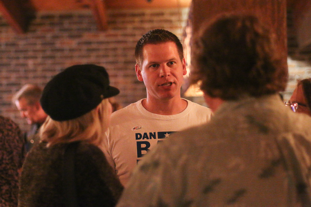 Dan Bane speaks with attendees of his election night party on Tuesday, Nov. 6. Bane was the top vote-earner of the election. Photo: Eric Heinz