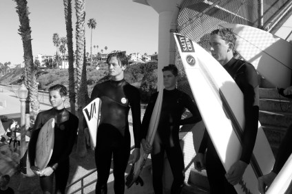 ed by standouts Ethan Mudge, Matt Economos and Trevor Sutton (right to left), it was another undefeated season for the powerhouse San Clemente High surf team, which went 7-0 this year. Photo: Jake Howard
