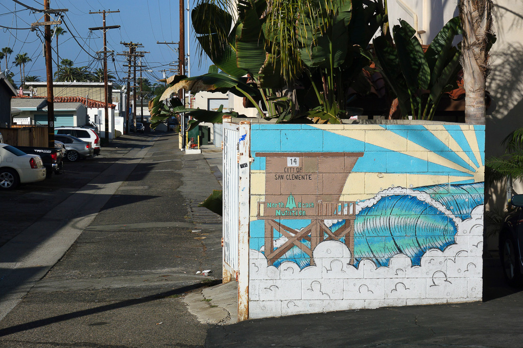 A concrete trash enclosure in an alley outside North Beach Nutrition features this beach-themed mural. Photo: Fred Swegles