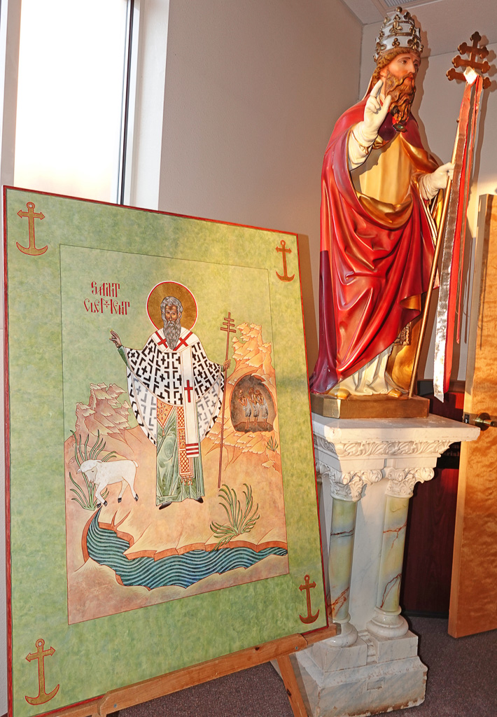 Images of San Clemente inside San Clemente Catholic Church in Los Lunas, New Mexico. Photo: Fred Swegles