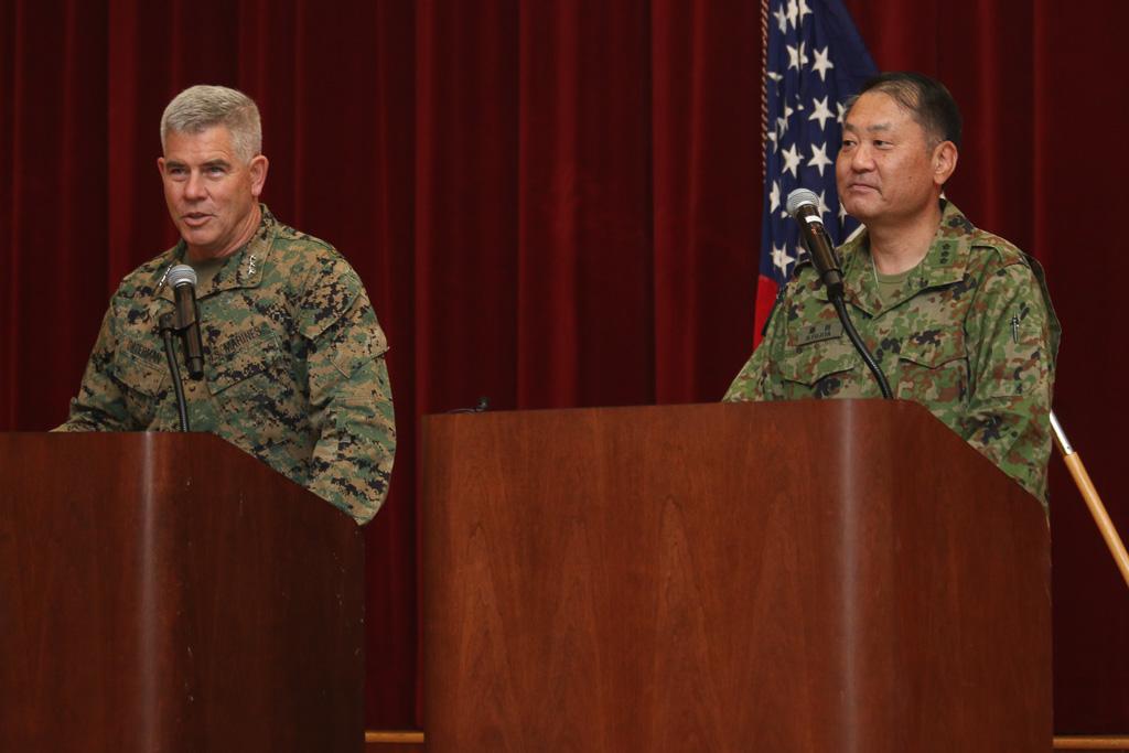 USMC Lt. Gen. Joseph Osterman, left, the commanding officer of the I Marine Expeditionary Force, speaks at a press conference with Japan's Lt. Gen. Hirokazu Fujita.  Photo: Eric Heinz