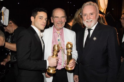 Rami Malek, Jim Beach and Roger Taylor at the 76th Annual Golden Globe Awards at the Beverly Hilton in Beverly Hills on Jan. 6. Photo: Courtesy of the Golden Globes