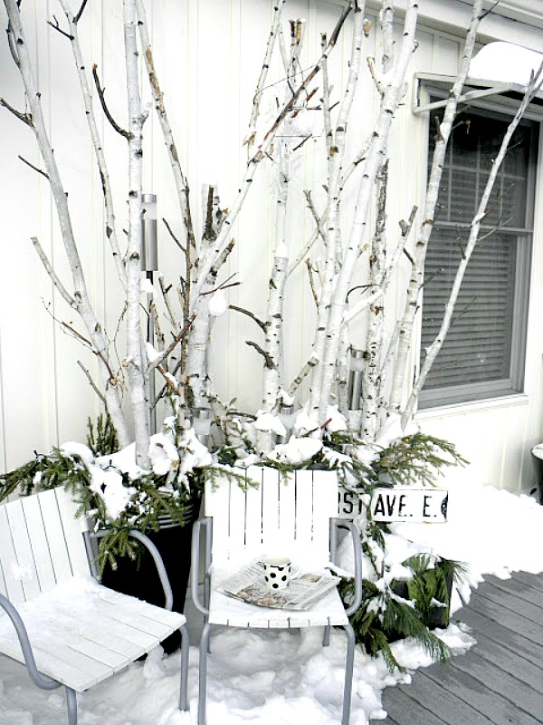Decorating with Birch   Sand and Sisal Birch Branch Winter Porch Decor