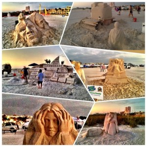 Collage of Sand Sculptures in Treasure Island Florida