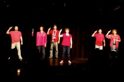Matthew Glover, Danielle Siver, Peter Ooley, Lindsey McDonald Dorsey, Brian Columbus, Courtney Miner in Hillsborough for Sandbox Theatre's Summer Suitcase (2013)