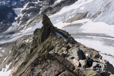 Climbing a ridge of the Gletshorn, in the Urner Alps.