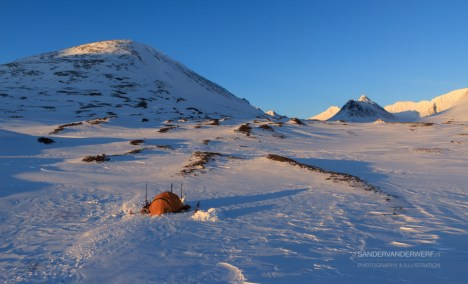 Long shadows at our campsite at the Kungsleden trail.