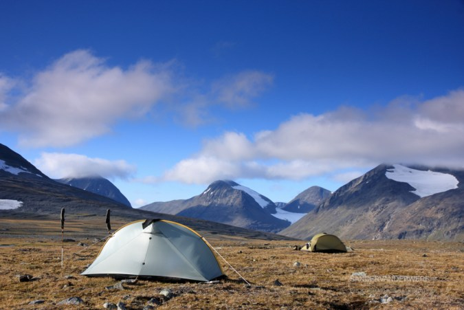 Camping in the autumn colored mountians in Sarek.