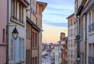 Old and colorful street in Croix Rousse, an old part of the city.