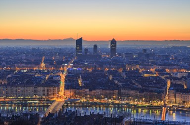 Dawn over the French city of Lyon. Seen from landmark Fourviere.
