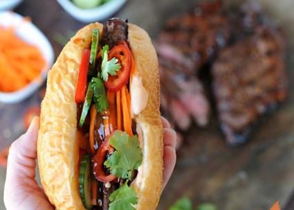 Celebrate August Sandwich Night Grilled Aussie Grassfed Beef Bahn Mi Sandwiches from Girls Can Grill