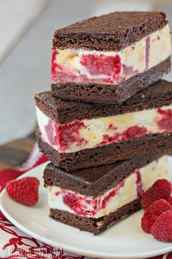 Brownie Raspberry Ice Cream Sandwiches - Picture and Recipe by Sugar Hero