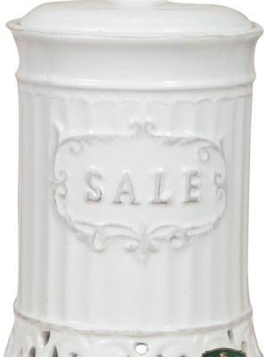 C1094barattolo sale in ceramica bianca country shabby