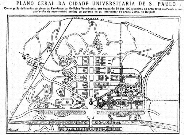 Plano-Geral-da-Cidade-Universitária-em-1943.