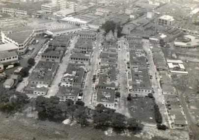 Vista aérea do conjunto, em 1978, em direção ao sul.